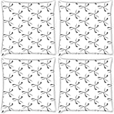 Snoogg Grey Petals Pack Of 4 Digitally Printed Cushion Cover Pillows 16 X 16 Inch