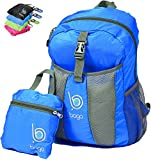 Lightweight Packable Backpack Rucksack for Travel Hiking Camping Biking or Carry On Bag - Durable Ultralight anf Folds into It's inner pocket - SAVE OVERWEIGHT CHARGES With 0.4 pounds and 25 Litres. - (BLUE)