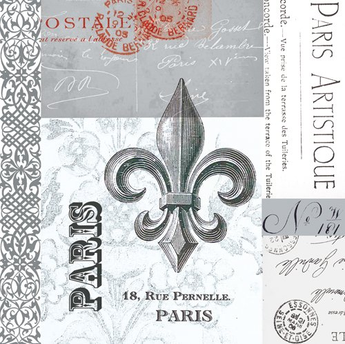 Paperproducts Design 20-Pack Fleur De Lys Paper Cocktail Napkins