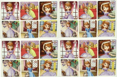 "SOFIA THE FIRST PRINCESS STICKERS - Sofia the First Birthday Party Favor Sticker Set Consisting of 45 Stickers Featuring 6 Different Designs Measuring 2.5"" Per Sticker"
