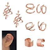 JININA Ear Cuff, Rose Gold Clip On Ear Cuffs Leaf Wrap Earrings Fake Lip Cartilage Cuff Earrings Girls Christmas Gift (Color: A-4 Pairs Rose Gold Set)