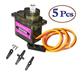 5pcs MG90S Servo, Micro Servo 2kg·cm in 4.8V Angle 180 °, for RC Car Helicopter Arduino Raspberry Pi Project by MakerDoIt
