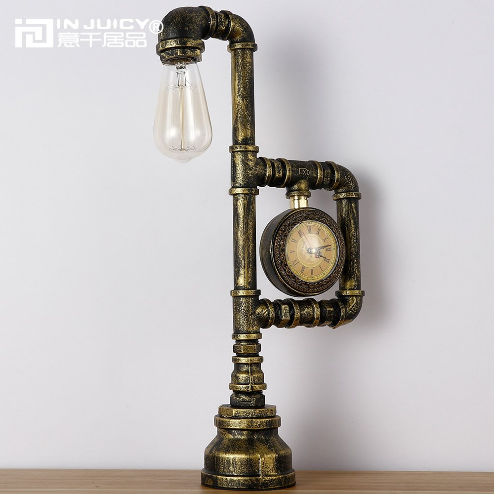 Injuicy Lighting Loft Vintage Industrial Wrought Iron Metal Water Pipe Table Lights Base Retro Rustics E27 Edison Steampunk Desk Accent Lamps with Clock for Bedside Living Room Bedrooms Bar Cafe Rust