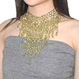 Belly Dancer Beaded Stretchy Exotic Choker Necklace With Bells - Gold