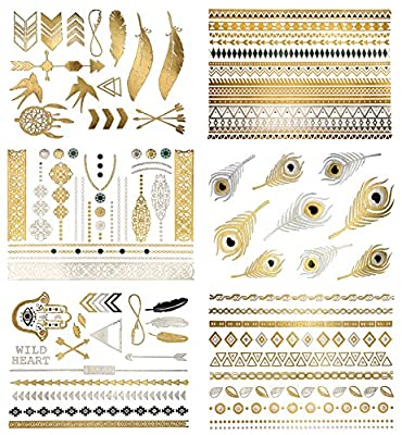 Premium Metallic Tattoos - 75+ Shimmer Designs in Gold, Silver, Black & Turquoise - Temporary Fake Jewelry Tattoos - Bracelets, Feathers, Wrist & Arm Bands, & More (Delila Collection)