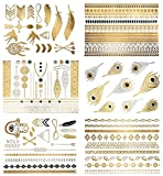 Premium-Metallic-Tattoos-75-Shimmer-Designs-in-Gold-Silver-Black-Turquoise-Temporary-Fake-Jewelry-Tattoos-Bracelets-Feathers-Wrist-Arm-Bands-More-By-Terra-Tattoos-Delila-Collection