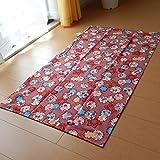 日本製 長座布団カバー綿100%しっかりタイプ生地 68×120cm しぼりうさぎ柄 横ファスナー付 (レッド)