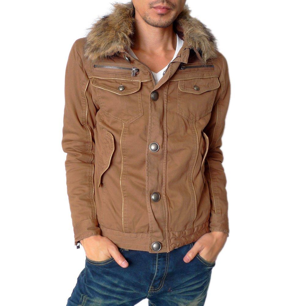 【APPAREL BUZZ SELECT】 メンズ 衿ファー付きミリタリージャケット / 裏ボアジャケット ショート丈 ジャケット コート アウター メンズファッション (全4色)