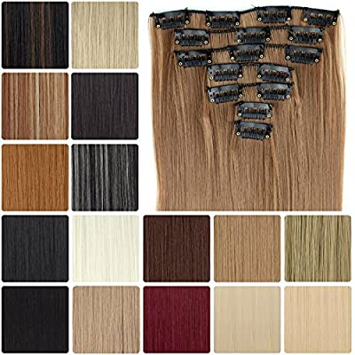 "Miss U Hair 24""/60cm 130g 7pcs/set Women Long Straight Synthetic Hair Full Head Clip in Hair Extensions Pieces"