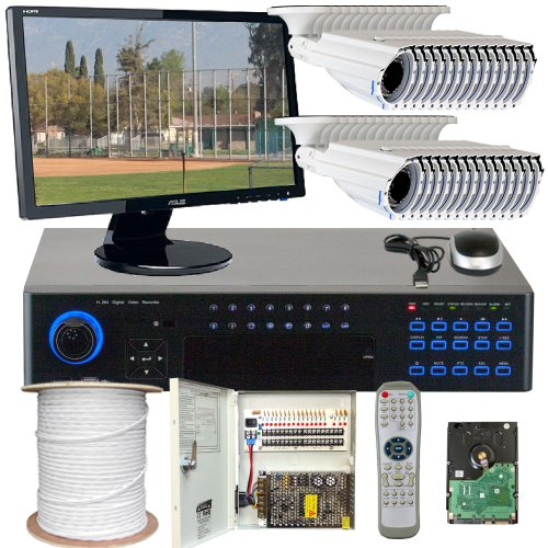 """Best Sale High End Cctv Surveillance Security Camera System, Free 22"""" Hdmi Monitor And Hdmi Male - Male Cable. 32 Channel H.264 960H Realtime Dvr Security Camera System With 32 X 1/3"""" Sony Super Had Ccd Ii Camera, Vari-Focal 2.8~12Mm Manual Zoom Lens, 700"""