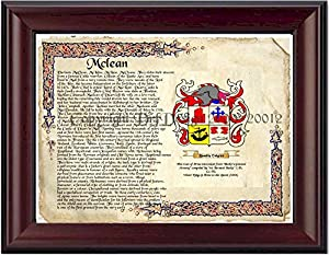 mclean coat of arms family crest on fine paper and family history picture posters. Black Bedroom Furniture Sets. Home Design Ideas