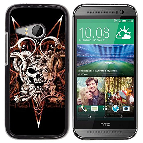 SKCASE Center / Protettiva Custodia CASE COVER - Corni del diavolo Pentagram Morte Skull - HTC ONE MINI 2 / M8 MINI