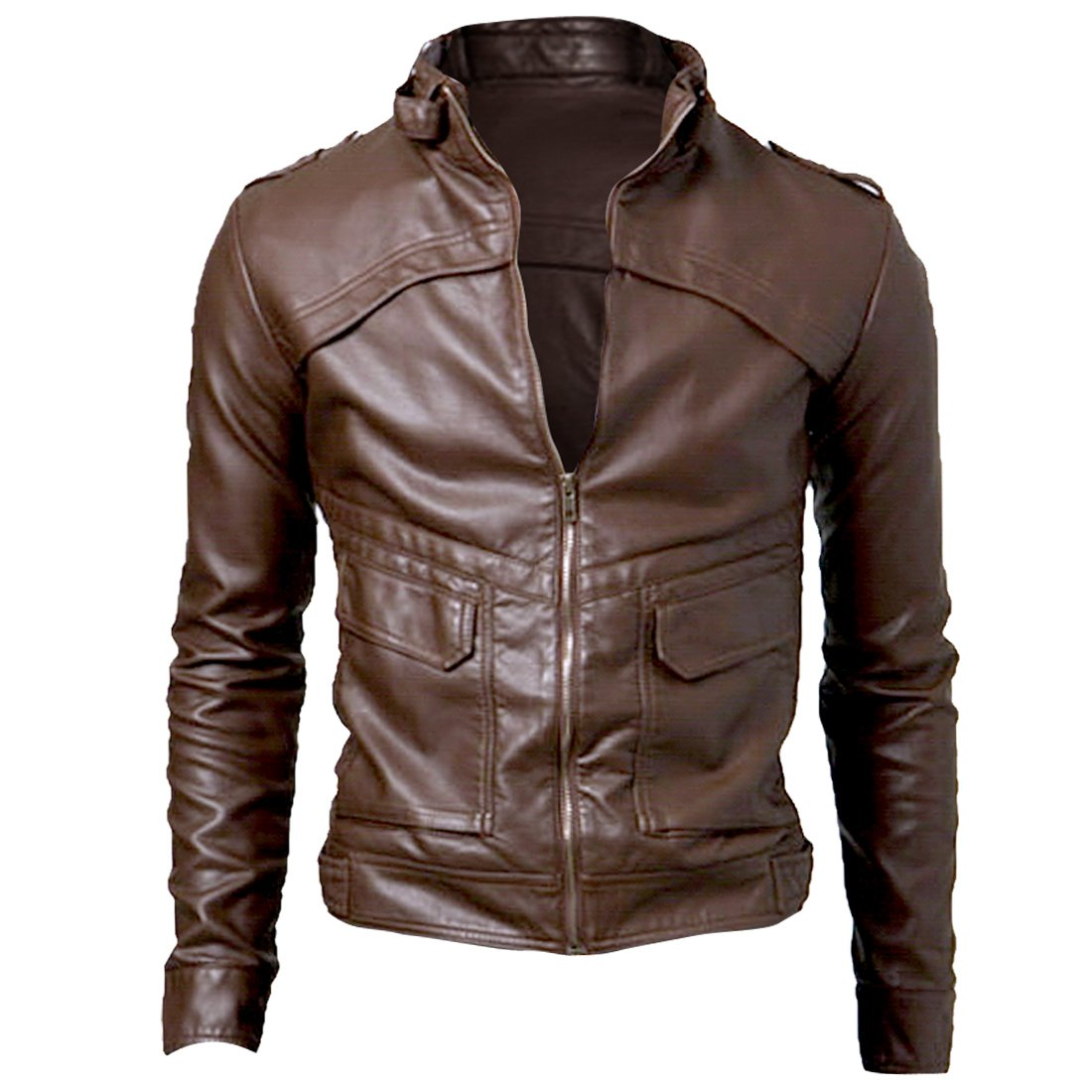 Allegra K Men's Stand Collar Button-Tab Faux Leather Jacket