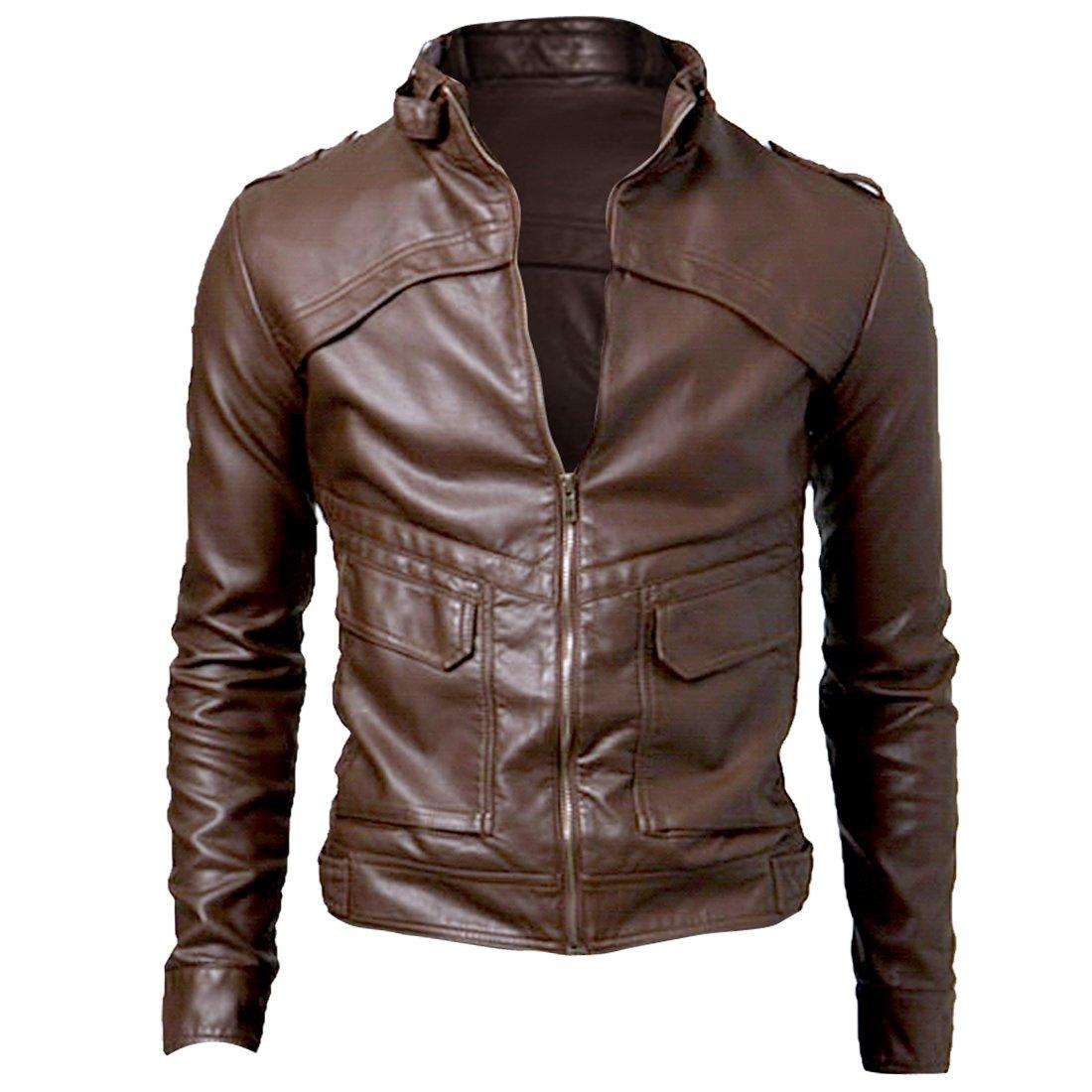 Мужская верхняя одежда из кожи и замши Allegra K Men's Stand Collar Button-Tab Faux Leather Jacket