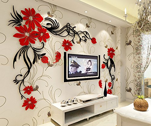 3d Flower and Vine Wall Murals for Living Room Bedroom Sofa Backdrop ...