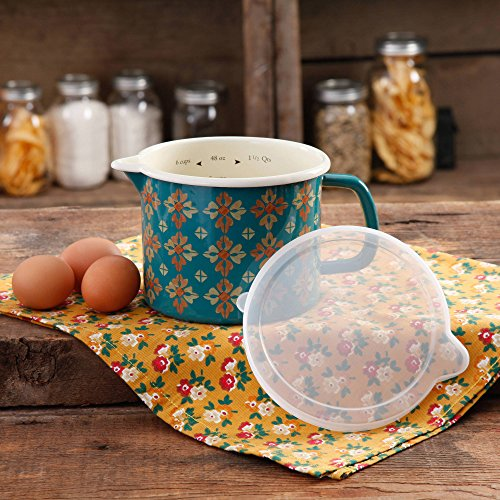 The Pioneer Woman 6-Cup Vintage Decorated Enamel-On-Steel Measuring Pouring Storage Pitcher with Lid (French Enamel Pitcher compare prices)