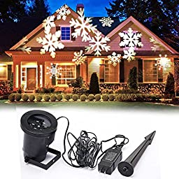 EAGWELL Christmas Decoration Rotating Projection Led Lights Snowflake Spotlight, Christmas Led Projector Light Show Waterproof for Landscape, Wall, White