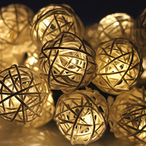 Gearmax-20-LED-Rattan-Kugel-Lichterkette-Batteriebetrieben-Innen-Im-Freien-Beleuchtung-fr-Garten-Rasen-Bar-Verein-Hochzeit-Valentinstag-Weihnachten-Warmwei