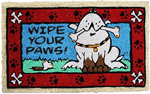 J & M Home Fashions Wipe Your Paws Dog Vinyl Back Coco Doormat, 18 by 30″