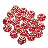 20 x Shamballa Disco Ball Beads For Jewellery Making 12 Colours to choose from By KurtzyTM - Red - Large 12mm
