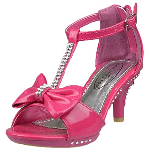 Kids Dress Sandals T-Strap Rhinestones Bow High Heel Dress Shoes