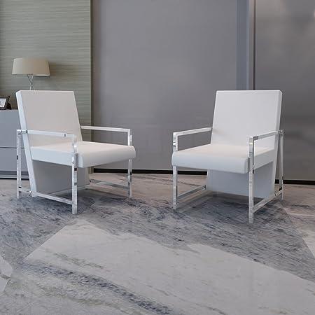 Sillón Blanco Cúbico con Patas Cromadas de Alta Calidad - 2 Piezas