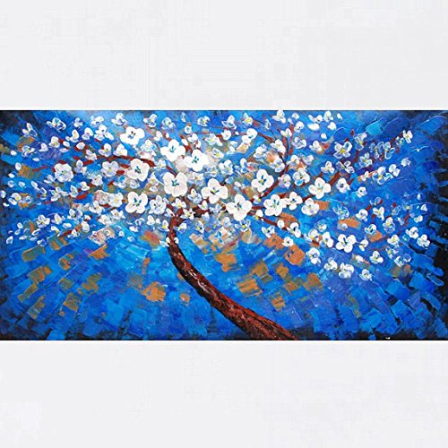 Xm Art-White Plum Blossom, Pure Love Palette Knife Landscape Oil Painting On Canvas Wall Art Deco Home Decoration(Unstretch And No Frame)