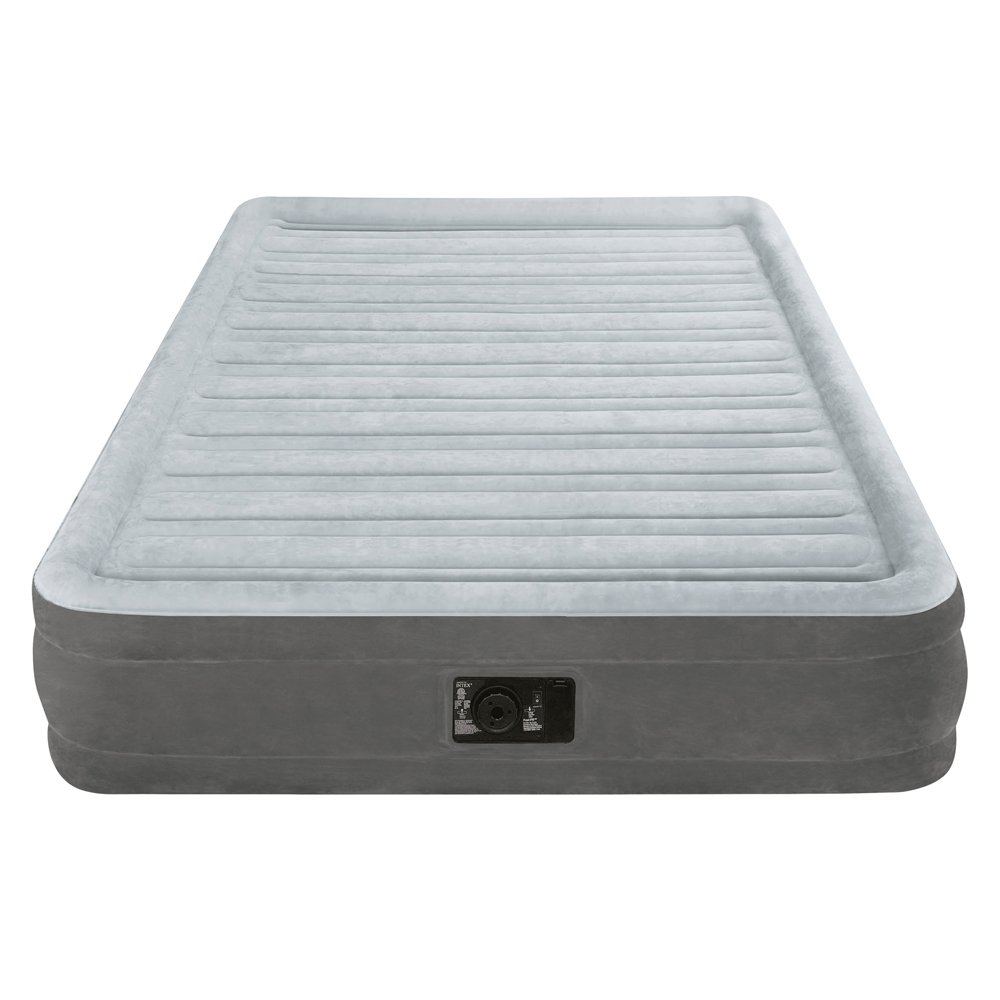 intex inflatable airbed full size built in electric pump air mattress sleep bed ebay. Black Bedroom Furniture Sets. Home Design Ideas