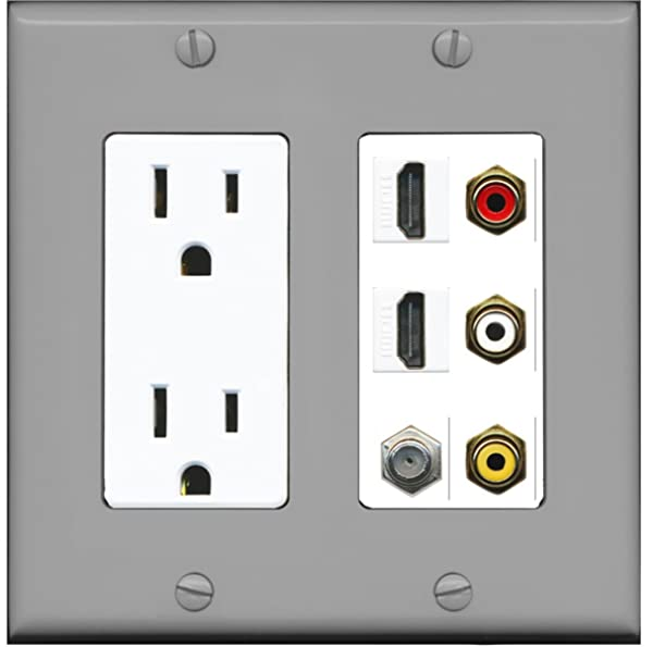 RiteAV - 2 x 15 Amp 125V Power Outlet 3 x RCA - 2 X HDMI and 1 x Coax Cable TV Port Wall Plate - Gray/White (Color: Gray/White)