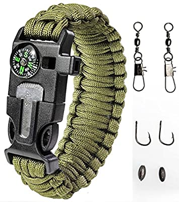 Paracord Bracelet Emergency Kit 17 pcs Survival Gear by A2S - Ultimate Survival Series includes 12 pcs Fishing Gear & Baits - Emergency Food Preparedness for all from A2S