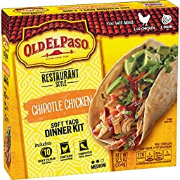 Old El Paso Restaurante Chipotle Chicken Soft Taco Dinner Kit (Pack of 12)