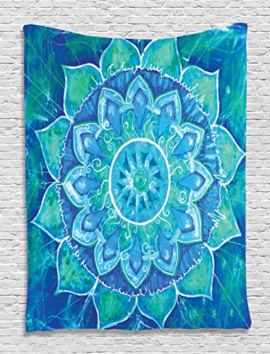 Chakra Tapestry Decor Ambesonne, Watercolor Painting Effect Batik Ikat Abstract Mandala, Bedroom Living Kids Girls Boys Room Dorm Accessories Wall Hanging Tapestry, Blue Teal (Wall Painting Accessories compare prices)