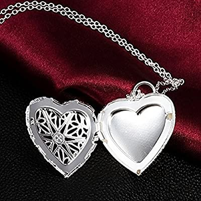 Shot--In Vintage Charm Silver Love Heart Valentine Lover Locket Chain Necklace Pendant