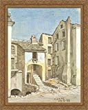 Corte, Corsica 28x36 Large Gold Ornate Wood Framed Canvas Art by M.C. Escher