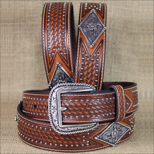 32-46 INCH WESTERN ARIAT LEATHER MENS BELT FLORAL DIAMOND CONCHO STUDS BROWN