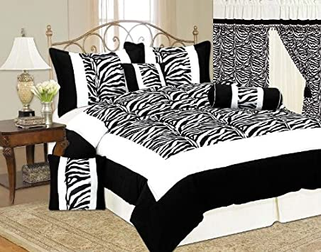 Awesome New Black and White Zebra Pcs Full Size Flock Satin Comforter Set