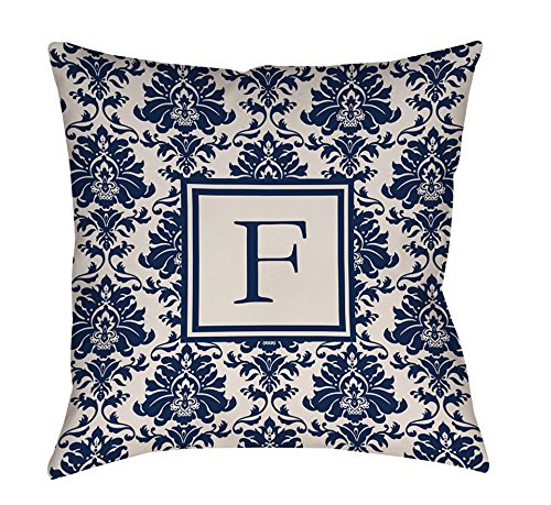 Thumbprintz Square Throw Pillow, 16-Inch, Monogrammed Letter F, Blue Damask front-422979