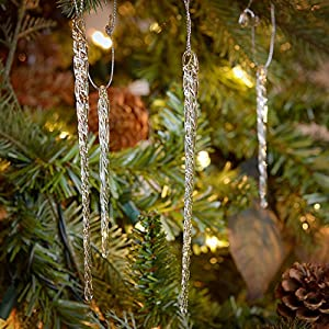 "24 piece Set Kurt Adler 3.5""-5.5"" Assorted Clear Glass Icicle Ornaments"