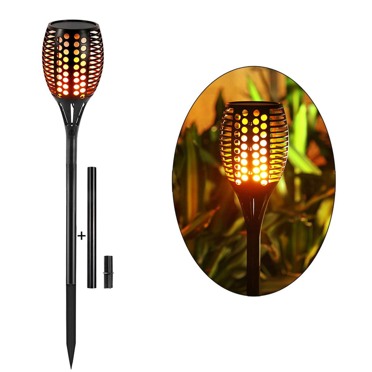 Solar Torch Lights,Balight Dancing Flame Lighting 96 LED Flickering Tiki  Torches Waterproof Wireless Outdoor Light ...