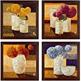 Ray Decor Wall Paintings Set Of 4 With Textured Art Work -SQSET514- Home Decor/ Wall Hangings/ Art/ Interior Decoratives...