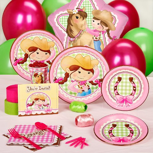 Pink Cowgirl Party Supplies - Standard Party Pack for 8