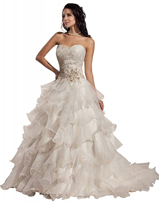 GEORGE BRIDE Romantic Ball Gown Strapless Sweetheart Layers Organza Wedding Dress
