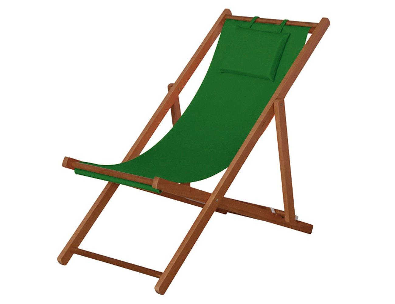 Siena Garden 732152 Liegestuhl Faro Hartholz-Gestell Stoffbezug grün Rücken mehrfach verstellbar