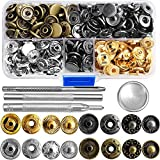 69 Sets Snap Fastener Kit Button Tool Press Studs Fastener Snap on Set Clothing Snaps Kit Fixing Tool (633(12.5mm)) by Outee (Color: Gold)