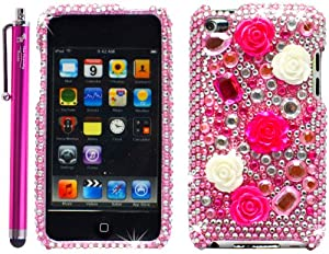 Premium 3D Diamond Pearl Flower Decoration Bling Protector Skin Cover Case Pink for Apple iPod Touch 4 / 4G / 4th Generation - Pink 4.5