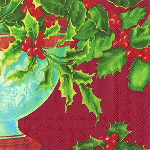 holly-bowl-red-christmas-paper-lunch-napkins-20-3-ply-napkins-in-pack