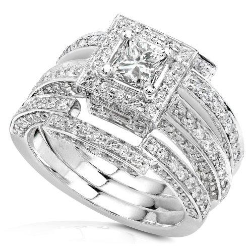 1 1/2ct TW Princess & Round Diamond 3 Ring Wedding Set in 14kt Gold - Size 5