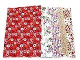 カットクロス 花柄 生地 ハギレ 50cm×50cm フラワー 5枚組 (花模様Aパターン)