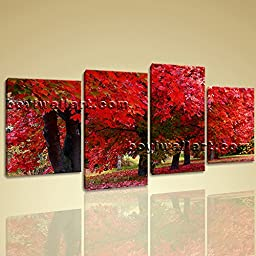 Large Contemporary Canvas Wall Art Print Picture Of Tree Fall Red Autumn HD 4 Panels Wall Art Inner Framed Ready To Hang by Bo Yi Gallery 67\