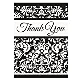 Black Damask Theme Thank You Cards with Envelopes - Pack of 8